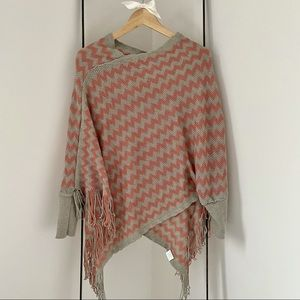 Knit Chevron Print Poncho with Sleeves - OS